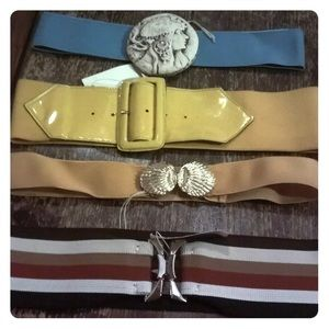 Elastic Belt Lot Teal Yellow Shell Hippie New Chic